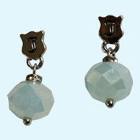 Light Aqua Blue Stud Post Earrings Sparkling Rhinestones