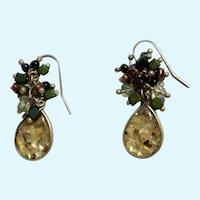 Vintage Lucite Teardrops with Dangling Beads on Fishhook Style Earrings for Pierced Ears