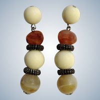 White and natural Looking Faux Stones Dangle from Stud Post Earrings