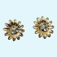 Small Gold-Tone Flowers with Rhinestone Cluster Centers on Stud Post Earrings for Pierced Ears