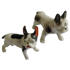 Pair of Vintage Black and White Boxer Dog Figurines Porcelain Made in Japan 1950's