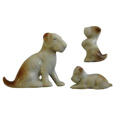 Vintage Schnauzer Dog and Puppies Bone China Miniatures Japan Early 20th Century
