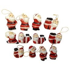 Vintage Miniature Santa Claus Saint Nick Christmas Tree Ornaments or Table Decorations 12 Pieces
