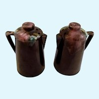 Vintage Brown Drip Glaze Coffee Pot Salt and Pepper Shakers S&P Ceramic Figurines Mafco Prod. Japan