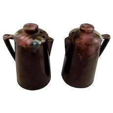 Vintage Drip Glaze Coffee Pot Salt and Pepper Shakers S&P Ceramic Figurines