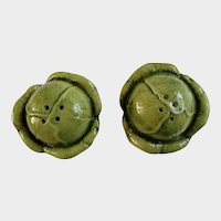Vintage Cabbage or Lettuce Heads Salt and Pepper Shakers Ceramic S&P Figurines