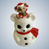 Baby Christmas Mouse On Top of His Snow Santa Claus Mouse Snowman Quon-Quon Japan Bell Figurine