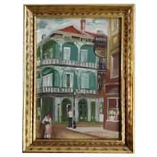 Royal and St Peter Street, French Quarter, New Orleans, Small Vintage Oil Painting