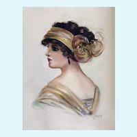 Portrait of a Flapper Girl Original Watercolor Painting 1920's