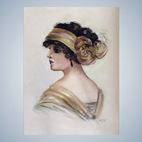 Portrait of a Flapper Girl Original Watercolor Painting Monogrammed by Artist CME 1920's