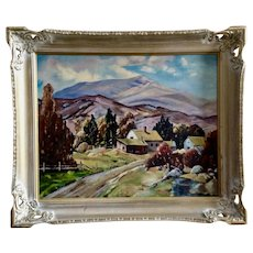Sunbeam Webster, Old Ranch in California Landscape Oil Painting on Canvas Signed by Artist