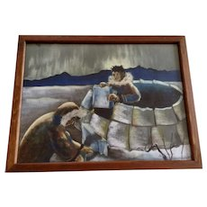 E Anne Campbell, Inuit Eskimo Indians Building Igloo with Northern Lights in Sky 1959 Charcoal Pastel Painting Signed By Artist