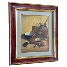 Cinzio Varisco, Still Life Natura Morta Peasant and Apple Oil Painting Signed by Italian Artist