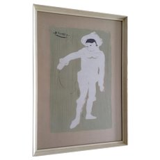 Mysterious Le Petite Pierrot After Pablo Picasso The White Clown Serigraph Screen Print