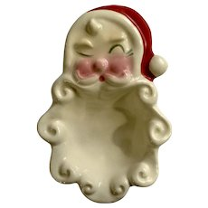 Mid-Century Christmas Santa Claus Small Ceramic Nut or Mint Dish
