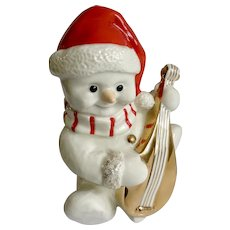 Mikasa Snowman Playing Lute Mandolin Guitar with Santa Hat Porcelain Figurine FK001