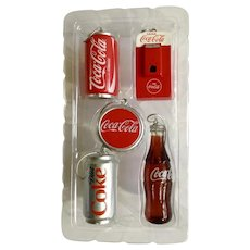 Coca Cola Christmas Tree Ornaments Kurt S. Adler Coke Can and Bottle Cap Machine Five Decorations