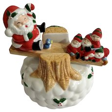 Christmas Santa Claus & Elves on Teeter Totter Music Box, Plays, 'Jingle Bell Rock'