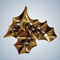 Golden Holly Leaves Christmas Brooch Pin Laura Gayle