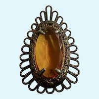 Vintage Brooch Pin Amber Colored Faceted Stone on Filigree Decorated