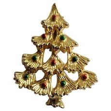 Gold-Tone Christmas Tree with Green and Red Ornaments Brooch Pin