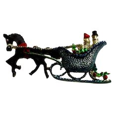 Winters Sleigh Ride Brooch Pin Vintage Gerrys Christmas Jewelry One of a Kind