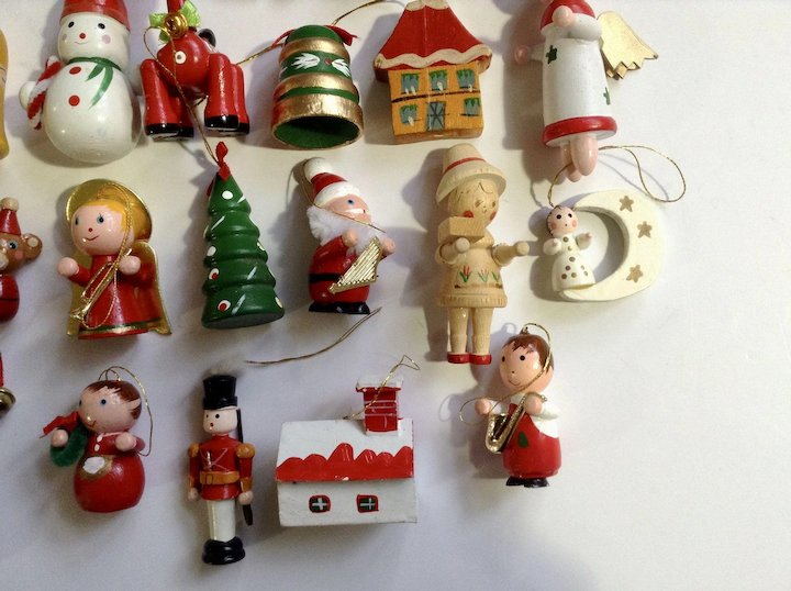 vintage wooden christmas tree ornaments and decorations angels horses santa reindeer 28 piece group - Wooden Christmas Tree Decorations