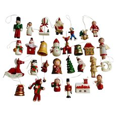 Vintage Wooden Christmas Tree Ornaments and Decorations Angels Horses Santa Reindeer 28 Piece Group