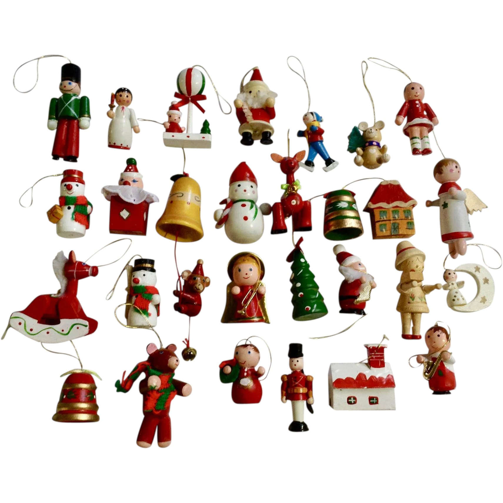Vintage Wooden Christmas Tree Ornaments And Decorations Angels Horses Gumgumfuninthesun Ruby Lane