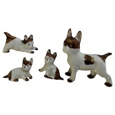 Boston Terrier Dog Figurines Mom and Her Puppies Animals Germany Circa 1930's
