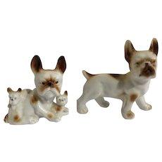 Vintage Boston Terrier Dog Family Porcelain Figurines Medium Size Circa 1930's Japan