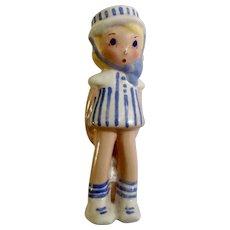 Adorable Little Sailor Girl Hiding Doll Vintage California Pottery Mid-Century