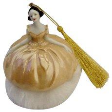 Gorgeous Porcelain Woman Powder Puff Iridescent Large Christmas Tree Ornament
