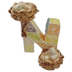 KoKo Originals N Nest Athena Boulgarides Bird Nests on Whimsical Letter Figurine Discontinued