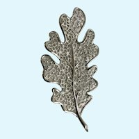 Large Vintage Silver-tone Leaf Brooch Pin