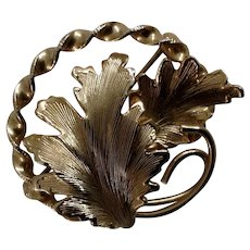 Vintage Gorgeous Gold-tone Leaves Pin