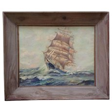 A Loise, Sailing Ship at Sea Nautical Oil Painting on Canvas Signed by Artist