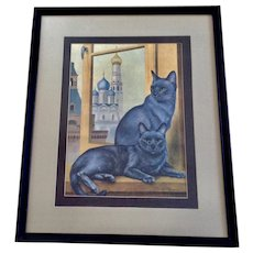 Russian Blue Kitty Cats with Green Eyes Lithograph Print 1965 by Girard Goodenow
