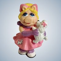 Miss Piggy with Poodle Puppy Pink Dress PVC Figurine Jim Henson Muppet Show 1990 Retired