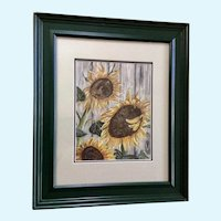 Helen Rutz, Sunflowers Mixed Media Watercolor and Acrylic Painting