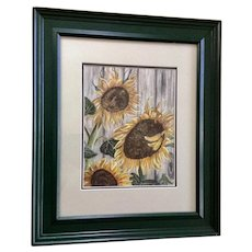 Helen Rutz, Sunflowers at Bloom Mixed Media Watercolor and Acrylic Painting Signed by Wyoming Artist