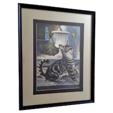 Silver Tabby Kitty Cat with Butterfly Lithograph Print 1965 by Girard Goodenow