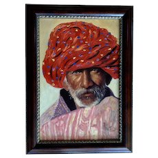 R Masd, Man with Turban Portrait Original Oil Painting on Canvas Signed by Artist