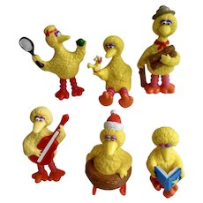 1980's Big Bird Sesame Street Figurines Muppets Inc Applause TM CTW Tara Toy Corp Plastic Cake Topper Group