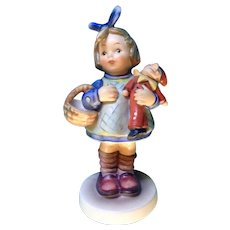 """Hummel Figurine, What Now? # 422 Goebel Little Girl With Doll And Basket 5 -3/4"""""""