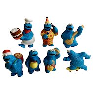 Halloween 1980's Cookie Monster Sesame Street Figurines Muppets Inc Applause TM CTW Tara Toy Corp Plastic Cake Topper Collection