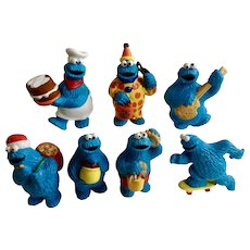 Cookie Monster Sesame Street Figurines Muppets Inc Halloween 1980's Applause TM CTW Tara Toy Corp Plastic Cake Topper Collection