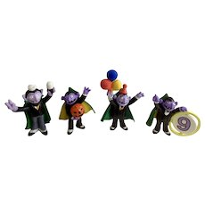 1980's Count von Count Dracula Sesame Street Figurines Muppets Inc Applause TM CTW Tara Toy Corp Plastic Halloween Cake Topper Collection