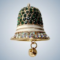 Christmas Bell Emerald Green with Aurora Borealis Rhinestone Encrusted  Pendant