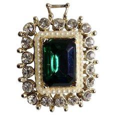 Faux Pearls, Emerald and Diamonds White Rhinestones  Brooch Pin Pendant Costume Jewelry